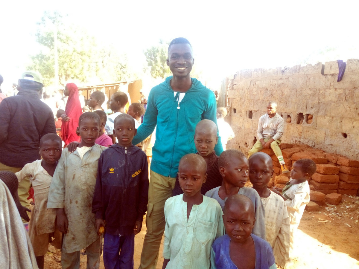 Myself with some almajiri kids